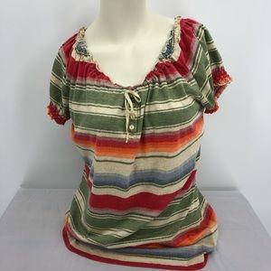 Ralph Lauren Women's L Boho Peasant Blouse Top